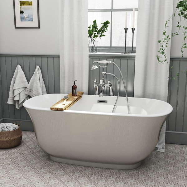 The Bath Co. Camberley pearl coloured traditional freestanding bath