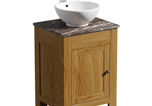 The Bath Co. Chester oak washstand with brown marble top and Eden basin